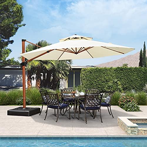 PURPLE LEAF 13ft Patio Umbrella Outdoor Round Umbrella Large Cantilever Umbrella Windproof Offset Umbrella Heavy Duty Sun Umbrella for Garden Deck Pool Patio, Cream