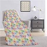 Colorida manta súper suave para decoración, arcoíris, flores, contornos, patrón de dibujo, ilustración de la naturaleza, sofá cama, sofá de viaje, 152 cm de ancho x 127 cm de largo, multicolor