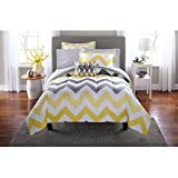 7 Piece Modern Style Yellow Grey Comforter Set Twin/Twin XL Size Bed in a Bag, Elegant Chevron Pattern Bold Design Cool Luxury Bedding, Reversible Solid Crisp Comfortable Soft Cozy Comfy Fitted Sheets