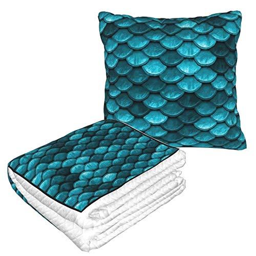 Hermosa manta de viaje 2 en 1 con diseño de sirena azul marino, suave y cálida de alta calidad, para el cuello, almohada para dormir