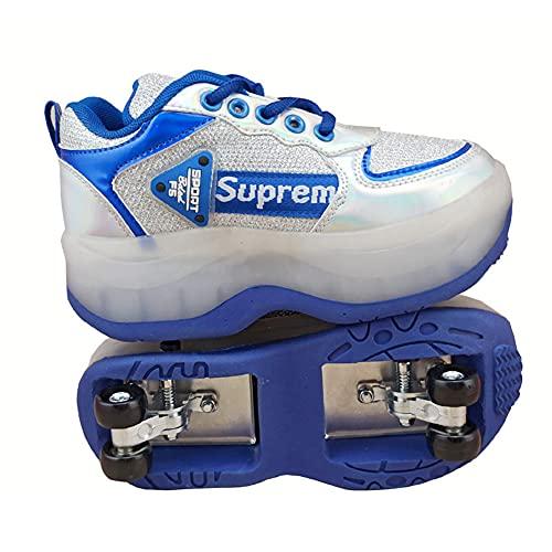 DLBJ Invisible Zapatos con Ruedas, Multifunción Deformación Patines De Ruedas 2 en 1 Patines en Línea Zapatos para Principiantes Unisex Regalo
