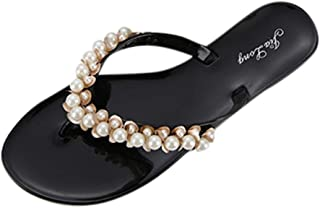 7ca964606a260 Flat Sandals Fashion for Women,FAPIZI Ladies New Pearl T-Strap Beach Open  Toe Casual Shoes Non-Slip Slippers