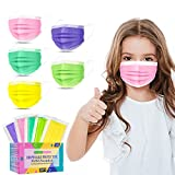 XDX Kids Face Mask Individually Wrapped-50 Pack Disposable Colorful Mask for Boys and Girls-Soft on Skin, 3 Ply - 5.7