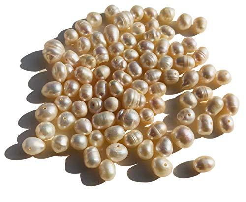 Rhinestone Paradise zoetwaterparels 50 g mengsel 10 mm tot 7 mm crème-kleuren echte parels gekweekte parels Fresh Water Pearl zoetwaterparel sieraden knutselen
