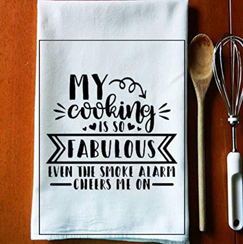 My Cooking is So Fab Lustiges Küchenhandtuch Waschlappen Rauchmelder Cheers Me Badetuch für Hand, Gesicht, Fitnessstudio und Spa, Weiß, 35 x 75 cm Farbe: Kochen ist so fabelhaft