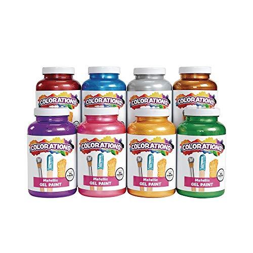 Colorations Metallic Gel Paints, 16 oz, 8 Colors, Non-Toxic Paint, Craft Paint, Kids Paint, Poster Paint, Paint for Children, Metallic Shimmer Paint, Non Toxic Paint, Homeschool