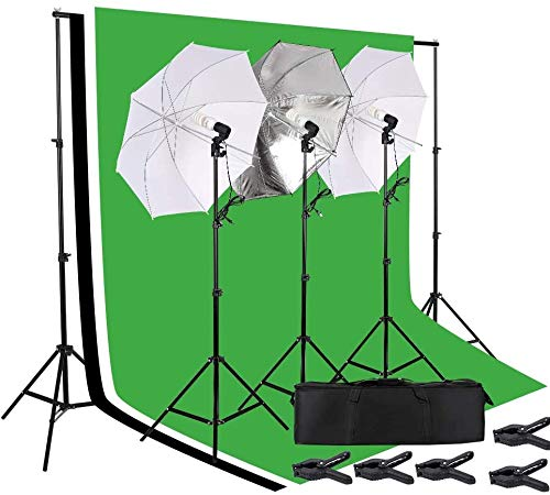 BREEZEE Market Kit De Iluminacion Fotografico para Estudio Profesional, Sombrillas, Softbox, Focos 45W, 3 Fondos Y Bolsa De Viaje,...