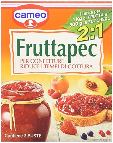 Cameo - Fruttapec per preparare le confetture, 2 in 1, riduce a 3 minuti la bollitura della frutta - 75 g (3 buste)