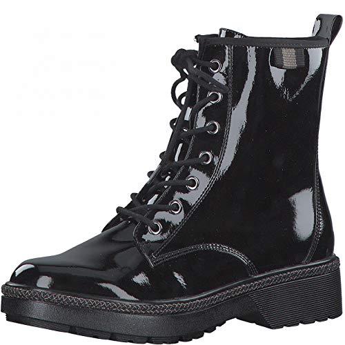 Tamaris Damen Stiefel, Frauen Schnürstiefel, Women Woman Freizeit leger Boots Combat schnürung weiblich Lady Ladies,Black PATENT,40 EU / 6.5 UK