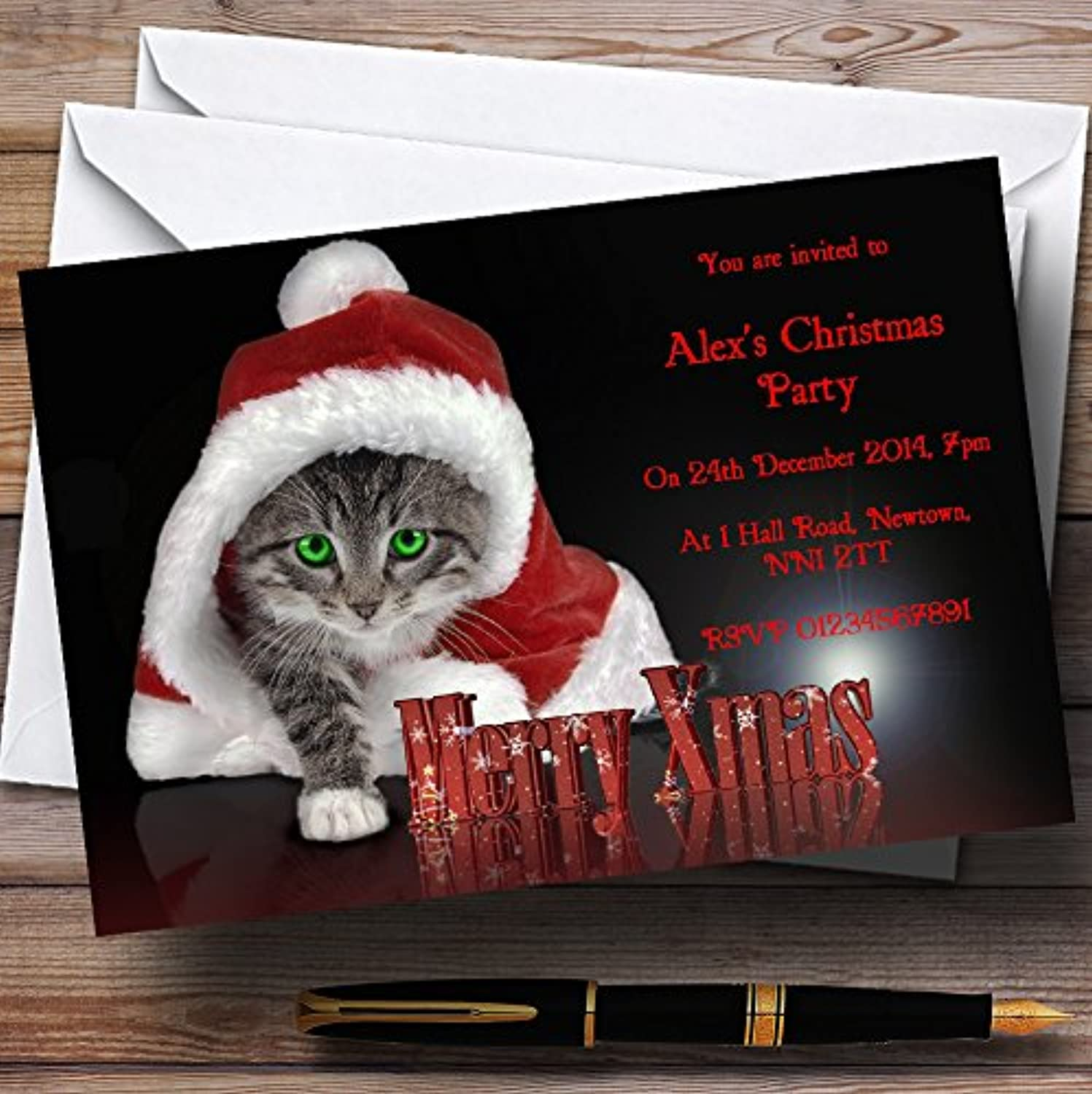 Santa Cat Personalised Christmas   New Year   Holiday Party Invitations   Invites & Envelopes