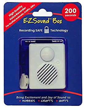 EZSound Box - 10 inch Extension Play Button for Stuffed Animals Craft Projects School Presentations Hobbies Personalized Items Model Trains etc - 200 seconds - Rerecordable thru Audio Port