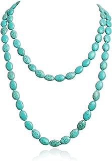 JANE STONE Funky Oval Shape Necklace Turquoise Double Strand