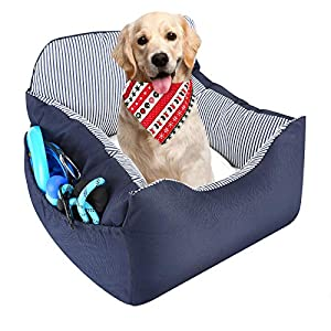 EONJUPET Dog Car Seat Travel Bed with Storage Pocket,Thick Seat Belt,Satisfy to Machine Washable,Removable and Adjustable Comfort Safety Seat for Pet Small to Medium Dog and Suitable for Any Car