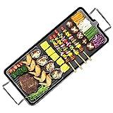 UMIGAL Parrilla eléctrica de mesa – Raclette parrilla eléctrica parrilla de pie para balcón temperatura ajustable malla de acero inoxidable adecuado para interior exterior W 29 cm L – 66 cm (L)