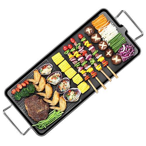 UMIGAL Tischgrill Elektrisch Barbecue - Raclette Grills Elektro Grill Standgrill für Balkon Einstellbare Temperatur Grillnetz aus Edelstahl Geeignet für Drinnen Draußen L - 66cm x W-29cm(L)