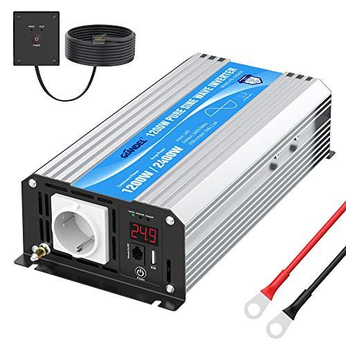 GIANDEL 24V Inversor de Corriente 1200W Convertidor de Onda Sinusoidal Pura Transformador 24V 220V 230V con Control Remoto y Pantalla LED Salida de AC 2,4A USB para CPAP RV Emergencia de Coche