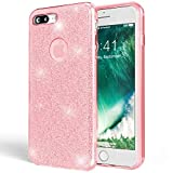NALIA Glitter Case Compatible with iPhone 7 Plus, Ultra-Thin Mobile Sparkle Silicone Back Cover, Protective Slim-Fit Shiny Protector Skin, Shock-Proof Crystal Gel Bling Smart-Phone Bumper - Rosa Pink