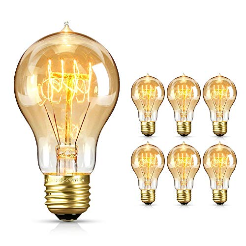 opamoo Edison Glühbirne, Vintage Glühbirne E27 220V Edison Vintage Light Bulb Dimmbar Filament Warmweiß Edison Lampe 2700K Vintage Antique Light Bulb for Nostalgia and Retro Lighting (6 Stück)