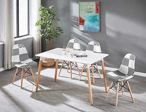 Life Interiors: Juego de 4 sillas y sillas de color blanco y negro y blanco con diseño de halo | Juego de 4 sillas | Mesa moderna | Silla blanca y negra | Muebles modernos | Color de la mesa: (blanco)