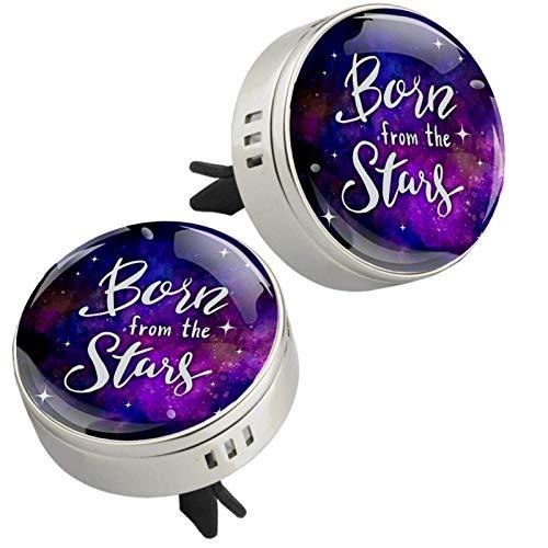 2 medallones inspiradores con diseño de cielo estrellado para aromaterapia de coche, difusor de aceites esenciales, cierre magnético con clip de ventilación, 4 almohadillas de repuesto (plateadas)