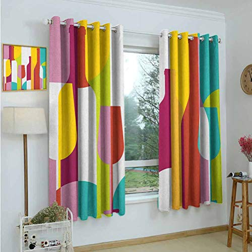 Gardome Customized Curtains Wine,Colorful Abstract Wine Bottle Glass Silhouettes Modern Party Drinks Geometric Design,Multicolor,Adjustable Tie Up Shade Rod Pocket Curtains 52