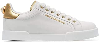 Luxury Fashion   Dolce E Gabbana Donna CK1602AN2988B996 Bianco Pelle Sneakers   Stagione Permanente