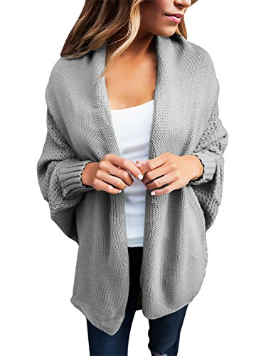 Women's Casual Long Dolman Sleeve Draped Open Front Cozy Loose Knit Cardigan Sweaters Oversized Outwear Coat Grey M 8 10