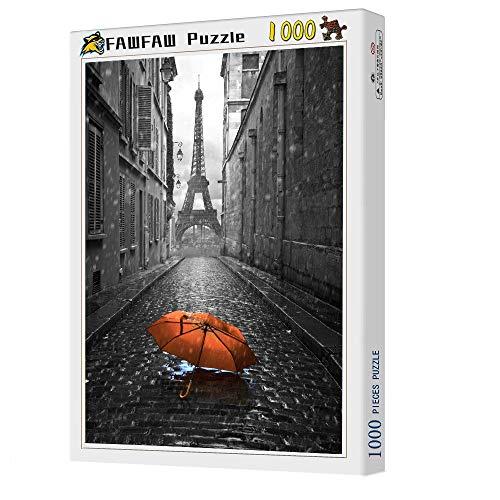 FAWFAW Puzzles 1000 Piezas, Torre Eiffel, Paraguas Rojo Rompecabezas Juguetes Regalos para Niños