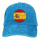 N/A Sombrero De Sol,Sombrero De Deporte,Sombreros Sombrilla Al,Dad Hat,Ocio Sombrero,Bandera De España En Balón De Fútbol Denim Jeanet Gorra De Béisbol Ajustable Dad Hat