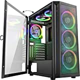 MUSETEX 6pcs 120mm ARGB Fans and USB 3.0×2 Mesh Mid-ATX Tower Chassis Gaming PC Case, Opening Tempered Glass Panels Gaming Style Windows Computer Case Desktop Case(TW8-S6)
