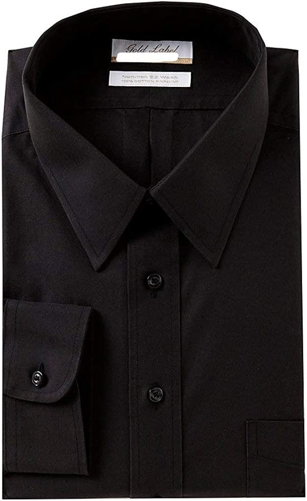 Gold Label Roundtree & Yorke Non-Iron Slim Fit Point Collar Solid Dress Shirt G16A0058 Black
