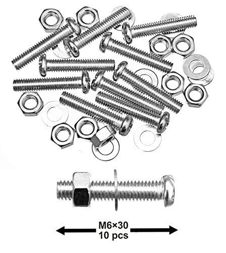 10 Satz Edelstahlschrauben M6x30mm mit Muttern und Unterlegscheiben Schrauben-Set Rundkopf passgenaues Gewinde hochwertige stabile Schrauben aus Edelstahl Gewindeschrauben Maschinenschrauben
