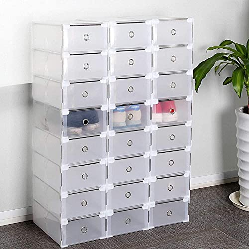 Boîtes à chaussures Supports à chaussures, paquet de 24 boîtes à chaussures, rangement pour boîtes à chaussures en plastique, boîte à chaussures empilable transparente avec tiroir
