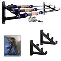 Fishing Rod Wall Rack - Ultra Sturdy Strong Weatherproof Holds 3 Rods - Space Saving Organizer for Hiking Poles, Ski Poles, Hokey Sticks and Fishing Rods (Holds 3 Rods)