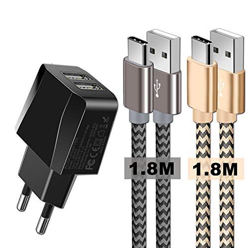 Chargeurs Secteur USB 2 Ports avec câbles USB c 2 Pack, Adaptateur USB Universel Mural & Chargeur USB c pour S10/S9/S8/Note 10/Note 9/ Note 8/Huawei P30/P20/P10/P9/OnePlus et Plus