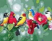 Diyキャンバス油絵キット-つる鳥-Diy デジタル絵画By数字キット手描きの油絵ユニークなギフト用リビングルーム装飾クラフト.-40X50Cm(フレームレス)
