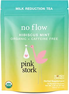 Pink Stork No Flow: Hibiscus Mint Tea, USDA Organic Loose Leaf in Biodegradable Sachets for Reducing Breast Milk Flow and Supply -30 Cups, Caffeine Free, Non-GMO