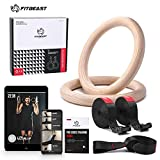 FitBeast Wood Gymnastic Rings, Olympic Rings 1600lbs with Adjustable Buckle 15ft Long Straps Gym...