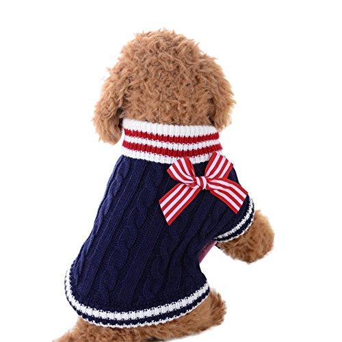 Rosennie_Haustiere Kleidung Hundepullover Hundekleidung Kleine Hunde Winter Pullover Strampler Hunde Warmer Mantel für Katzen Kleine Welpe Teddy Pudel Hunde Kleider Sweater (M, Blau A)