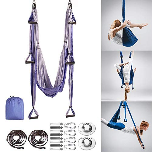 MQSS Hamaca Yoga Profesional, Columpio de Yoga Aéreo Hamaca de Yoga/Yoga Aéreo/Yoga Trapecio para Colgarse y Aliviar el Dolor de Espaldagradient Purple