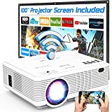 TMY WiFi Projector with 100″ Screen, 180 ANSI Brightness [Over 7500 Lumens], 1080P Full HD Enhanced Portable Projector Compatible with TV Stick Smartphone Tablet HDMI USB for Outdoor Movies.