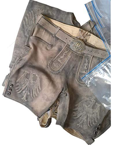 Trachten Kurz Lederhose Herren Oktoberfest Lederhose Kurze Lederhose braun Used mit Gürtel in Gr. 46-64 (64)