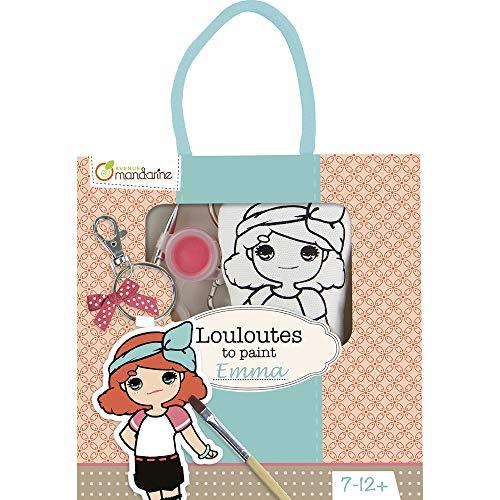 Avenue Mandarine 42783O - Une boite Louloutes to paint comprenant une Louloute 5x3x13 cm, un pinceau, un ruban et 4 pots de peinture, Emma
