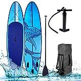 SUP Board Stand up Paddle Paddling Shark Blau 300x76x15cm aufblasbar Alu-Paddel Hochdruck-Pumpe Transportrucksack 115KG