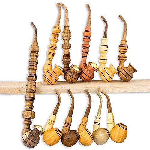 Set 11 pcs Handmade Smoking Pipes - Natural Wooden Pipes for Smoking Tobacco