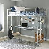 Walker Edison Furniture Company Modern Metal Pipe Twin over Workstation Desk Bunk Kids Bed Bedroom Storage Guard Rail Ladder, Silver Grey