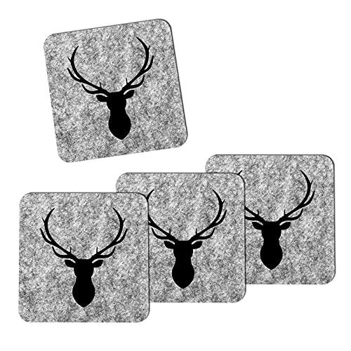 Set di 4 sottobicchieri in feltro motivo cervo per bicchieri, tazze, sottobicchieri da bar (grigio chiaro/nero)