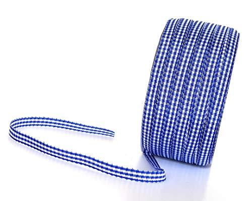 KAROBAND 50m x 6mm BLAU - WEISS Vichy gewebtes Schleifenband DEKOBAND Geschenkband VICHYKARO kariert ohne Draht