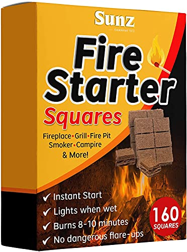 Fire Starters Squares 160 Large Pack. Natural Fire Starter for Campfires, Grill Starter Cubes, Camping Fire Starter Cubes, Charcoal Starter Cubes, BBQ Fire Starter, Grill Fire Starter Squares