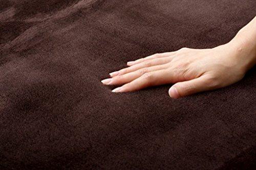 イケヒコラグカーペットルームマット1畳無地フランネル『フランアイズ』ブラウン約92×185cm(ホットカーペット対応)♯9810207